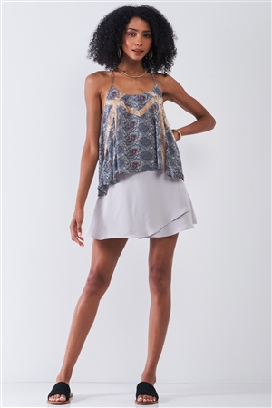 Blue Cream Paisley Pattern Print Sleeveless Lace Cut-Ins Racer Back Detail Relaxed Babydoll Top /1-1-2