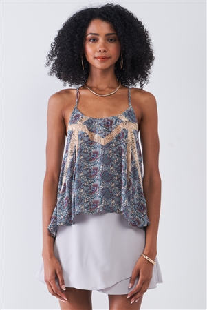 Blue Cream Paisley Pattern Print Sleeveless Lace Cut-Ins Racer Back Detail Relaxed Babydoll Top /1-2-2-1