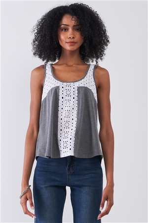 Grey & White Sheer Crochet Trim Sleeveless Scoop Neck Relaxed Top /1-2-2-1