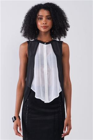 Black & White Double Layered Round Neck Sleeveless Front Button Down Skirt Asymmetrical Hem Top /1-2-2-1