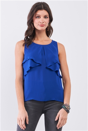 Royal Blue Sleeveless Round Neck Layered Babydoll Top /1-2-2-1