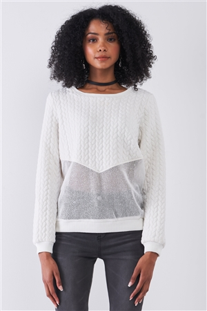 Off-White Round Neck Long Sleeve Braid Quilted Sheer Mesh Detail Sweatshirt /1-1-1-1