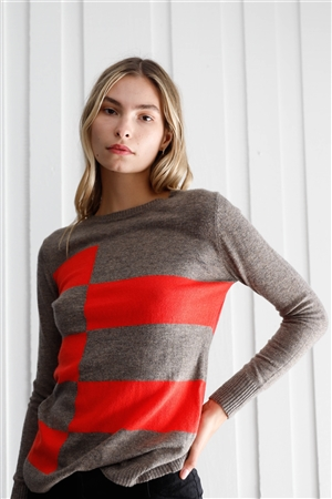 Cappuccino & Coral Color Block Print Soft Long Sleeve Ribbed Neck Angora Sweater /1-2-2-1