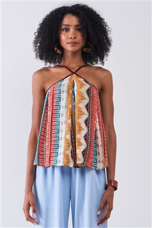 Multicolor Tribal Pattern Print Sleeveless High Halter-Neck Relaxed Top /1-2-3-1