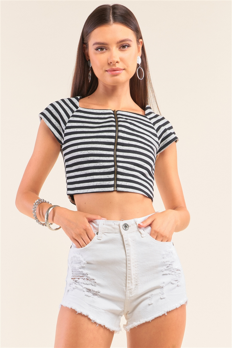 Black And Grey Striped Square Neck Mini Sleeve Cropped Top /1-2-2-1