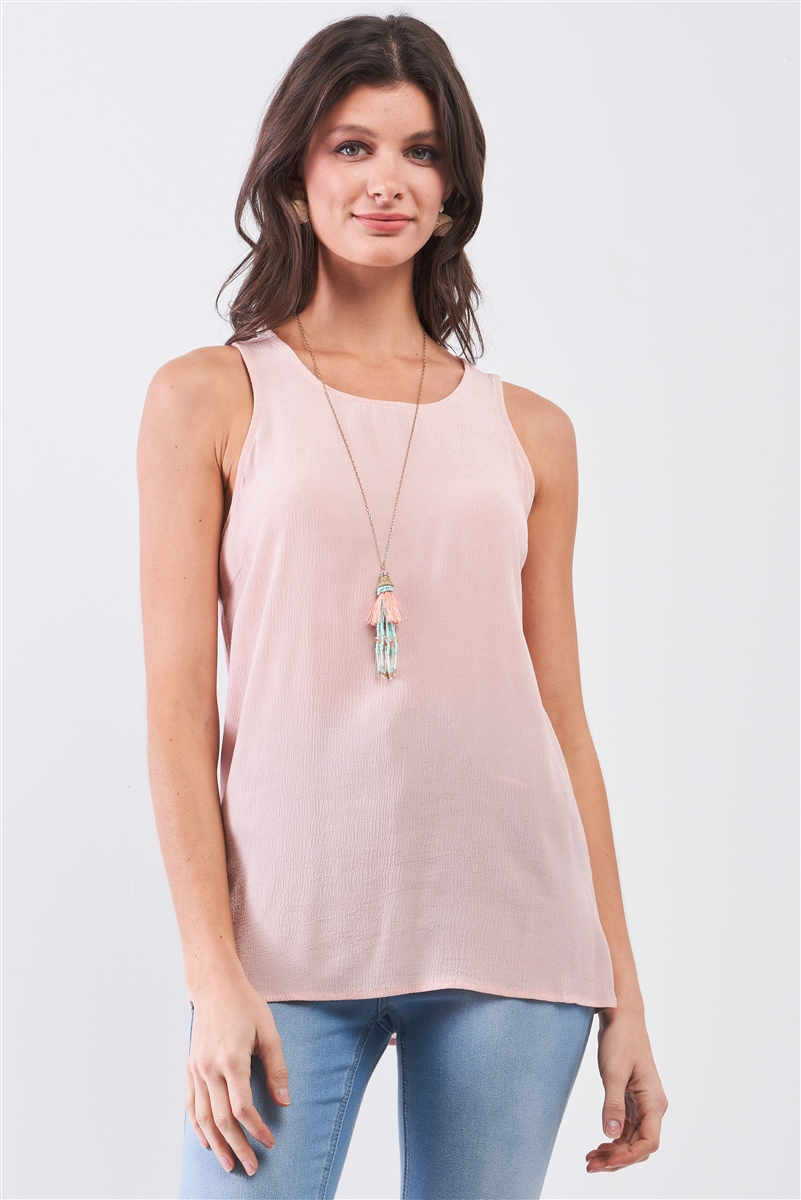 Blush Pink Crêpe Fabric Sleeveless Buttoned Back Scoop Neckline Babydoll Top /1-3-1