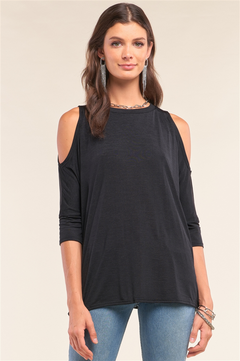 Black Relaxed Fit Crew Neck Midi Sleeve Cut-Out Shoulder Detail Yoga Top /1-2-2-1