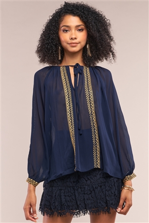 Deep Blue Boho Mosaic Pattern Embroidery Relaxed Fit Long Sleeve Self-Tie Crew Neck Top