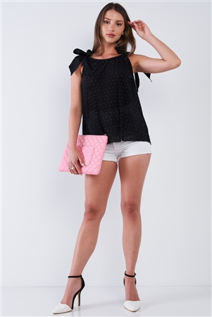 Black Ribbed Small Polka Dot Round Neck Loose Fit Stretchy Sleeveless Ribbon Shoulder Tie Top /1-2-2
