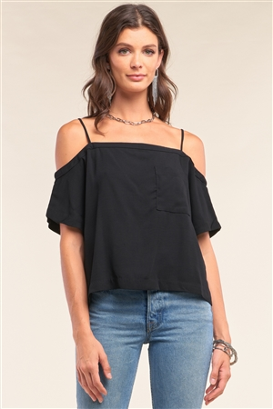Black Off-The-Shoulder Square Neck Loose Fit Chest Pocket Detail Top /1-2-2-1