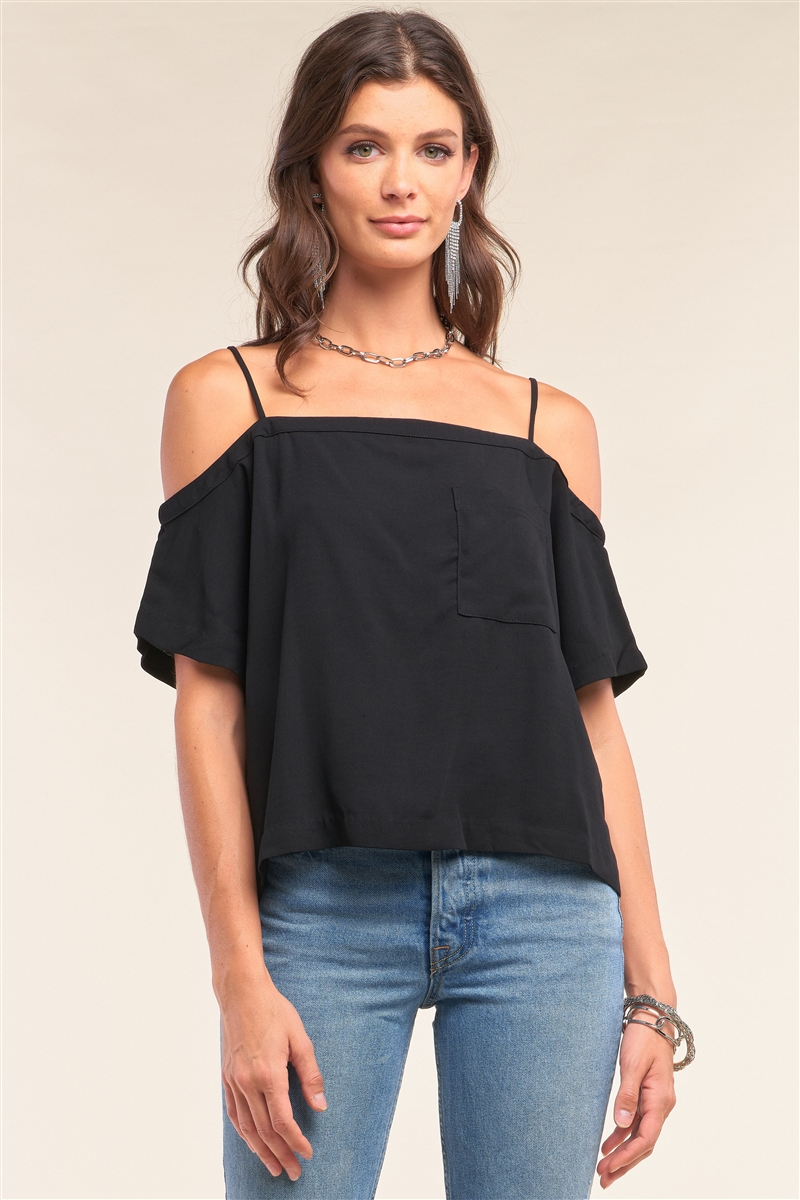 Black Off-The-Shoulder Square Neck Loose Fit Chest Pocket Detail Top /3-3