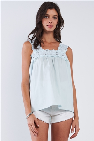 Light Blue Babydoll Loose Fit Sleeveless Embroidered Square Cut Shoulder Hem Top /1-2-2-1
