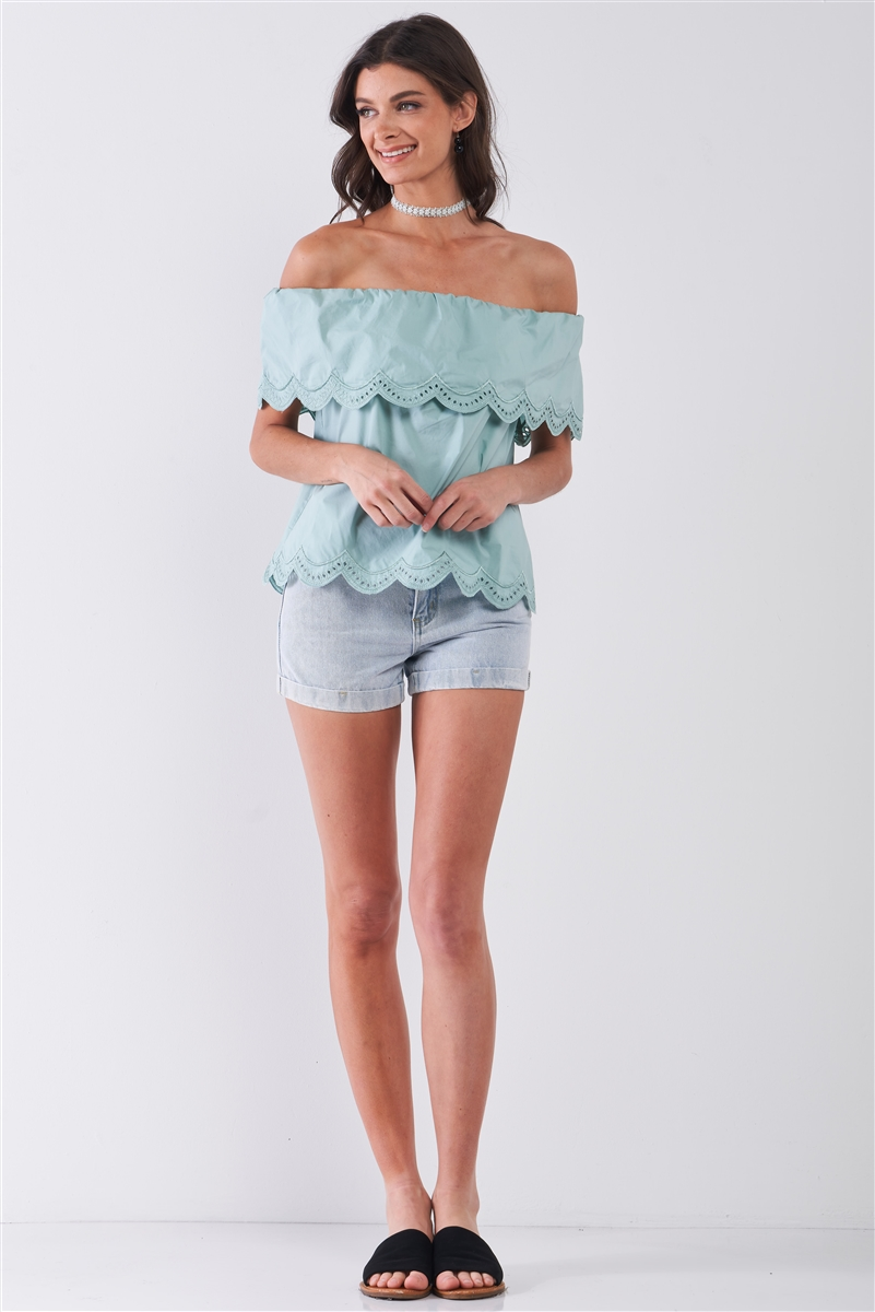 Seafoam Off-The-Shoulder Scallop Hem Short Sleeve Top /1-2-1