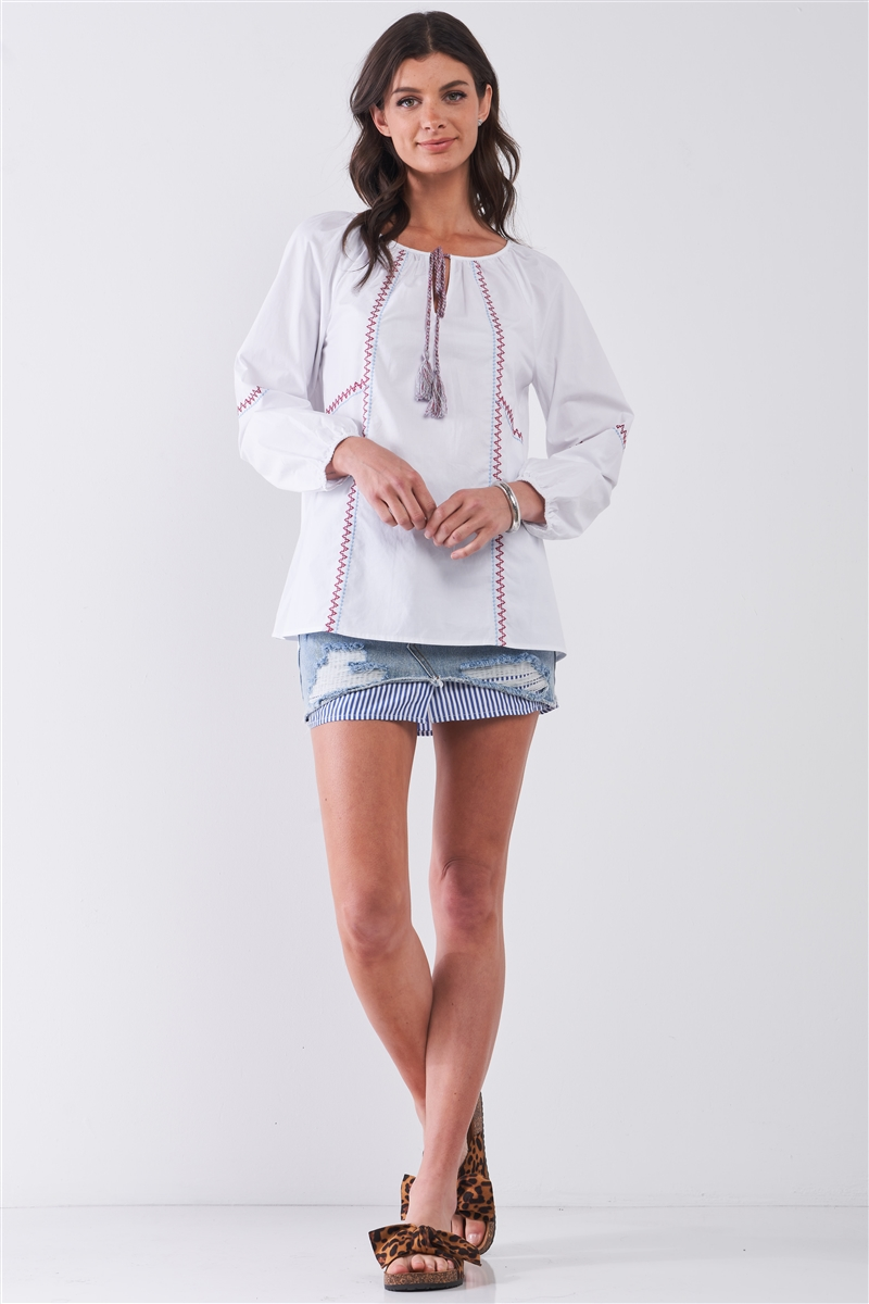 White & Multi Embroidery Round Neck Detail Long Balloon Sleeve Tassel Draw String Tie Loose Fit Blouse /2-2