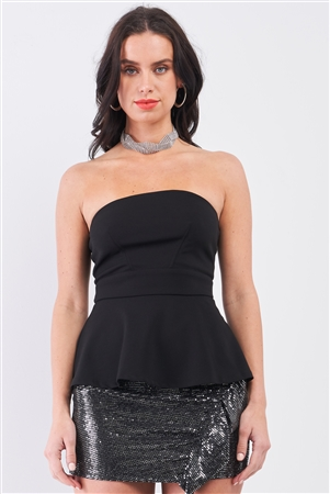 Black Strapless Fitted Flare Elegant Top /1-2-2-1
