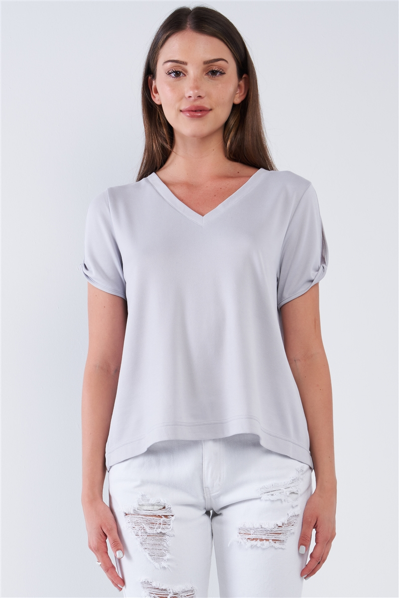 Light Grey Loose Fit V-Neck Peek-A-Boo Shoulder Top