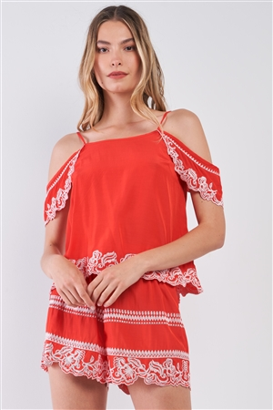 Red Tribal Floral Embroidery Cold Shoulder Top & High Waist Mini Shorts Summer Set /1-2-2-1