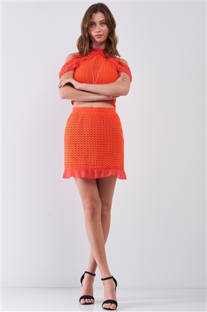 Orange-Red Mock Neck Off-The-Shoulder Embroidery Top & High-Waisted Flare Hem Bell Mini Skirt Set /1-2-2-1