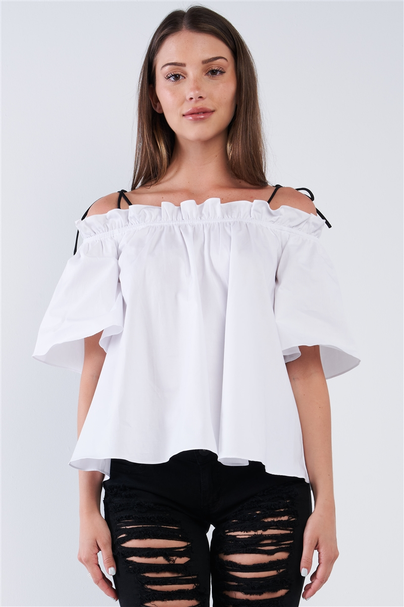White Cotton Relaxed Fit Stretchy Ruffle Hem Off-The-Shoulder Top With Black Self Tie Strings /1-2-2-1