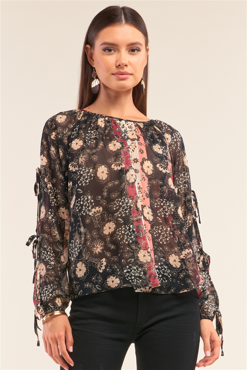 Black Multi Floral Print Long Sleeve Self Tie Detail Chiffon Top