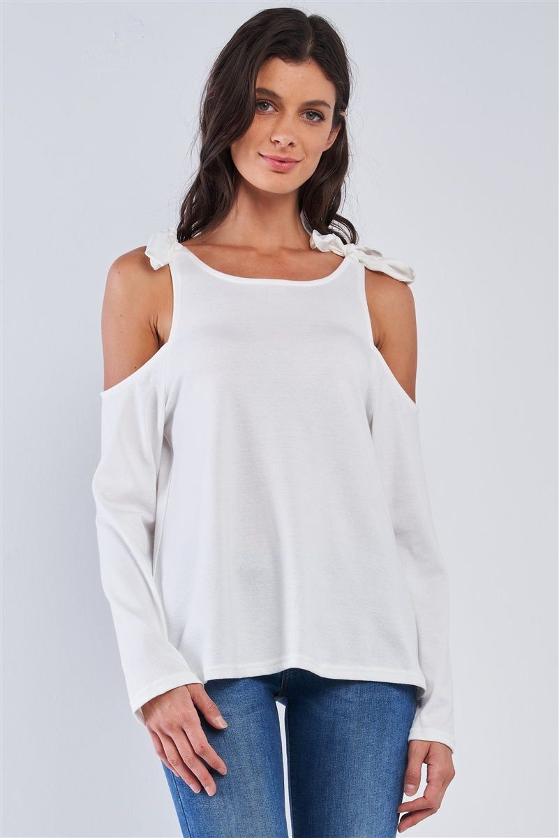 White Off-The-Shoulder Long Sleeve Open Back Ribbon Self Ties Top