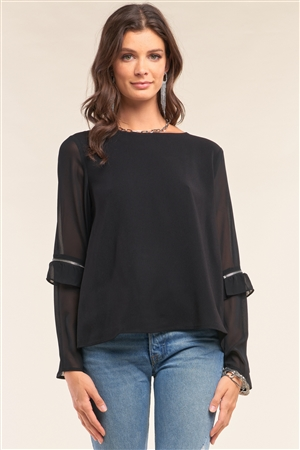 Black Crew Neck Loose Fit Long Sleeve Zipper Ruffle Trim Detail Blouse /1-2-2-1