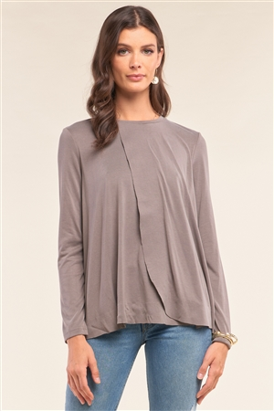Stone Grey Loose Fit Long Sleeve Crew Neck Wrap Raw Hem Detail Top /1-2-2-1