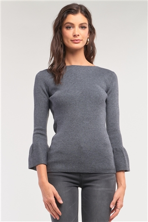 Grey Ribbed Knit Boat Neck 3/4 Bell Sleeve Fitted Sweater /1-4