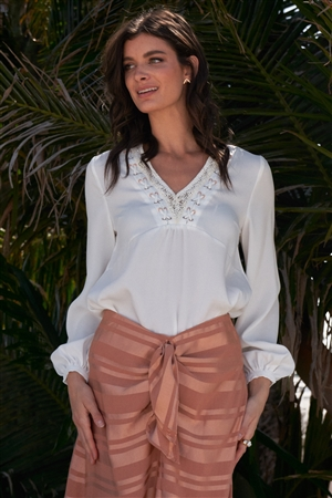White Long Sleeve Relaxed Fit Criss-Cross Lace Up Crochet V-Neck Detail Blouse