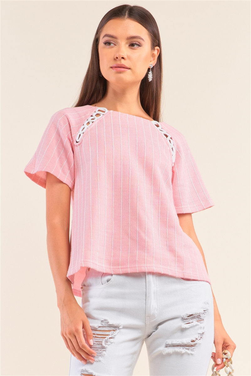 Pink&White Striped Bootlace Loop Chest Detail Self-Tie Back Relaxed Fit Shirt /1-2-3-1