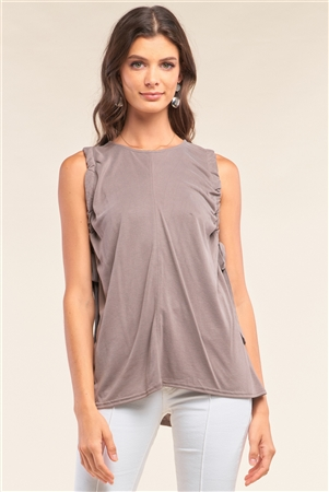 Stone Gray Sleeveless Drawstring Detail Crew Neck Relaxed Fit Tunic Top /1-2-2-1