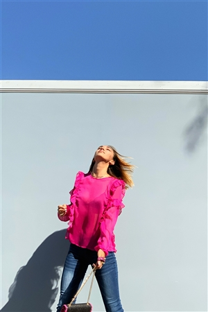 Fuchsia Tulle Mesh Round Neck Ruffle Detail Long Balloon Sleeve Blouse /1-2-2-1