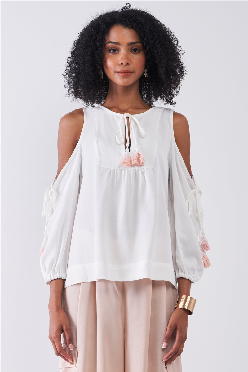 White Boho Cold Shoulder Balloon Sleeve Tassel Tie Neck Detail Relaxed Country Blouse Top /1-2-2-1