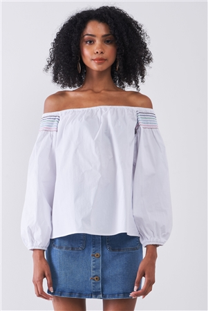 White Multi Shoulder Stitches Off-The-Shoulder Long Balloon Sleeve Top /1-2-2-1