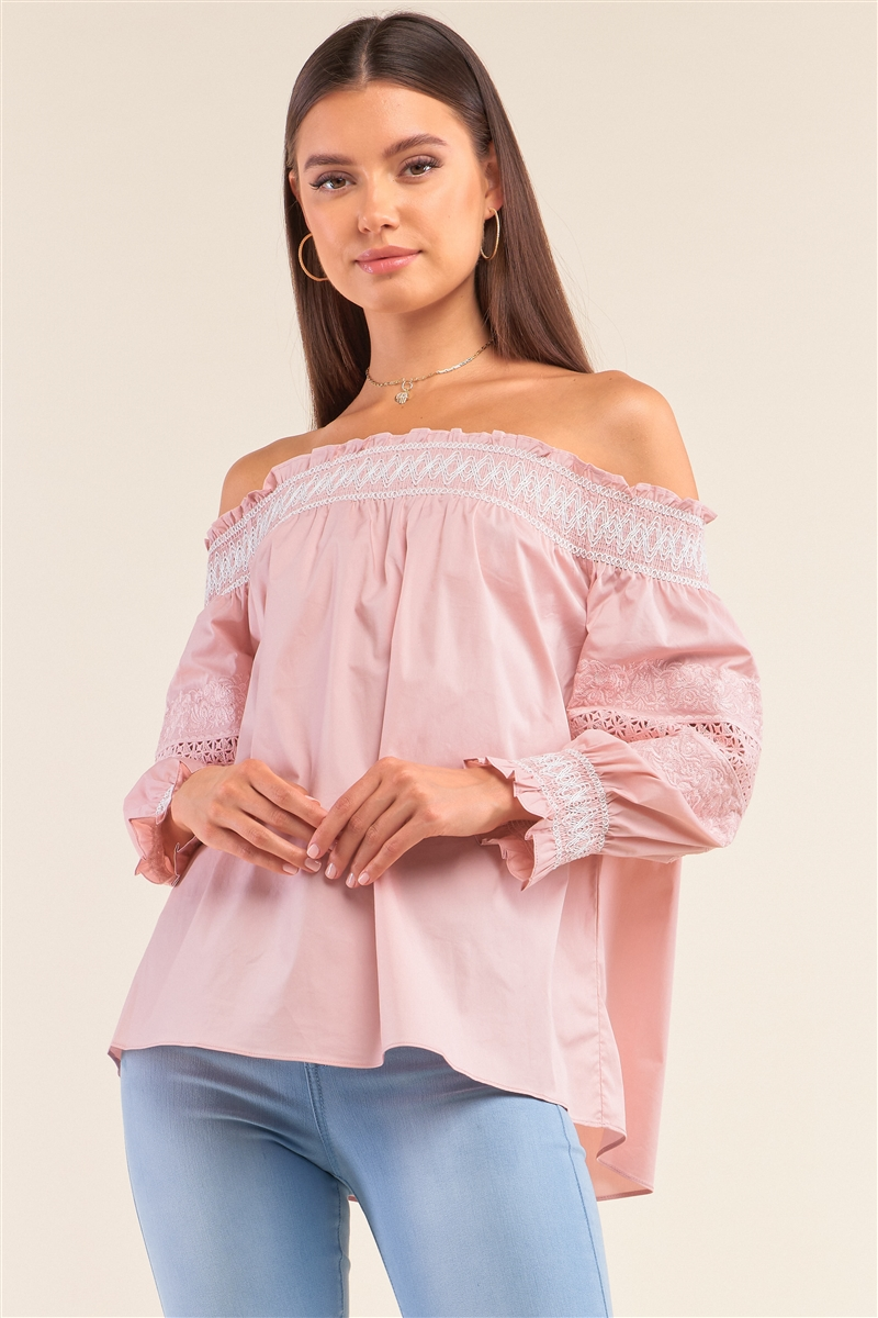Boho Pink Off-The-Shoulder Slavic Inspired Crochet Embroidery Detail Long Balloon Sleeve Frill Hem Loose Fit Blouse /1-2-2-1