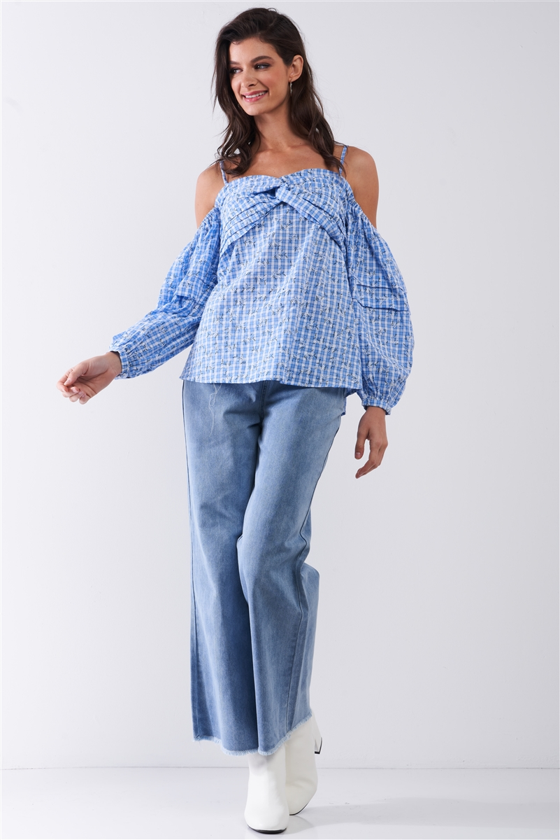 Blue & White Checkered Floral Print Off-The-Shoulder Balloon Sleeve Relaxed Blouse /1-2-1