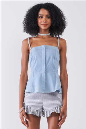 Light Blue Denim Sleeveless Square Neck Button-Down Front Smock Back Detail Fit & Flare Top /1-2-2-1