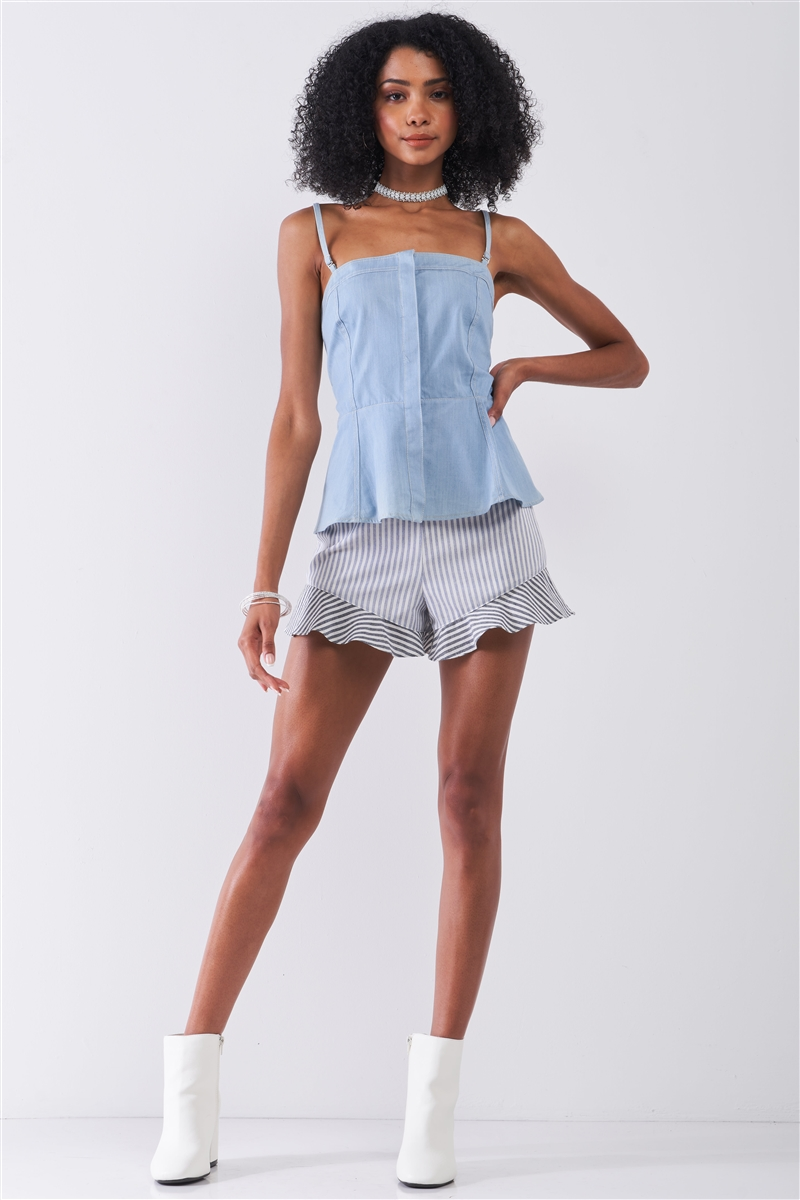 Light Blue Denim Sleeveless Square Neck Button-Down Front Smock Back Detail Fit & Flare Top /2-2-2