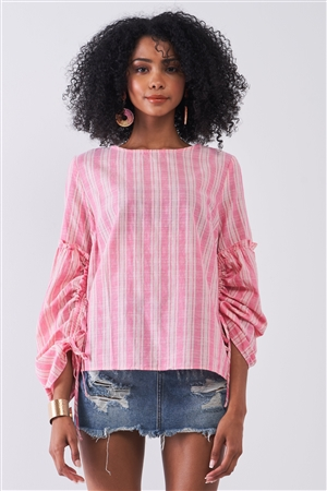 Red Stripped Crew Neck Long Gathered Sleeve Back Keyhole Top /1-2-2-1