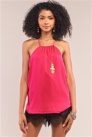 Berry Satin Sleeveless Halter Tank Top
