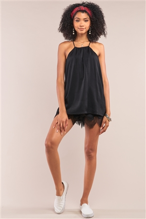 Black Satin Sleeveless Halter Tank Top