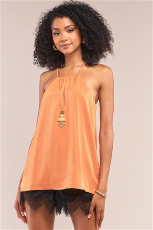 Orange Satin Sleeveless Halter Tank Top