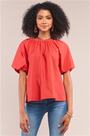 Apple Red Solid Loose Fit Crew Neck Puff Sleeve Detail Top /1-1-2-1