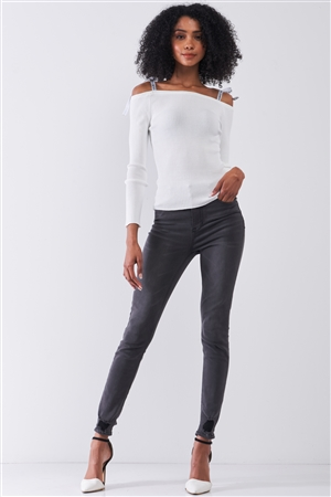 White Ribbed Off-The-Shoulder Printed Self-Tie Shoulder Strap Detail Long Sleeve Fitted Top /1-2-1