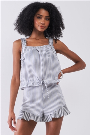 Light Blue & White Striped Sleeveless Ruffle Detail Crop Top & High Waist Ruffle Hem Mini Shorts Two-Piece Set /1-2-2-1