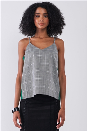 Grey Checkered Pattern Sleeveless V-Neck Multicolor Striped Side Detail Babydoll Top /1-2-2-1