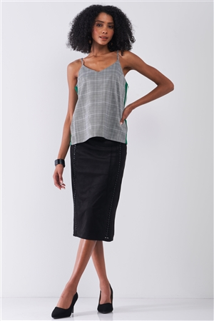 Grey Checkered Pattern Sleeveless V-Neck Multicolor Striped Side Detail Babydoll Top /2-1-1-2
