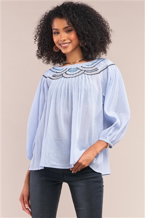Denim Blue Striped Embroidery Trim Crew Neck Loose Fit Balloon Sleeve Blouse /1-2-2-1