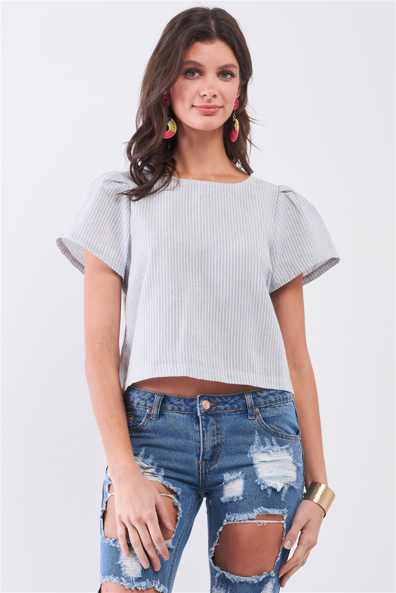 Blue Striped Self-Tie Back Triple Detail Puff Short Sleeve Exposed Back Crop Top /1-2-2-1