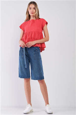 Red Short Sleeve Eyelet Self-Tie V-Back Tiered Loose Fit Flare Top /1-2-2-1